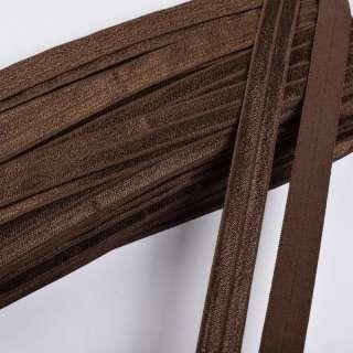 Коса бейка стрейч 15 мм коричнева оптом