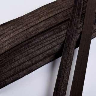 Коса бейка стрейч 15 мм коричнева темна оптом