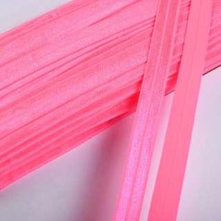 Коса бейка стрейч 15 мм рожева неон оптом