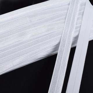 Коса бейка стрейч 15 мм біла оптом
