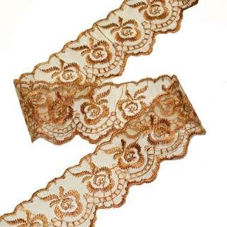 Кружево капрон 40мм коричнево-золотистое оптом