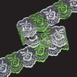 Кружево капрон двухцветное 40мм зелено-белое оптом