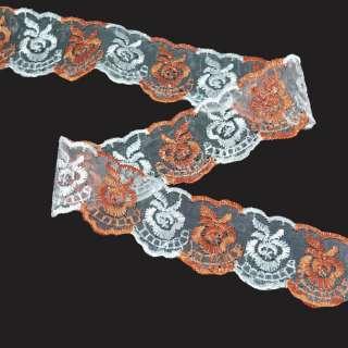 кружево двухцветное персик-белое п/э 4,0см оптом
