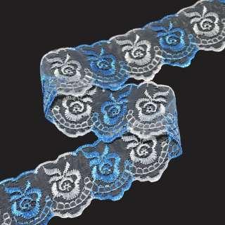 кружево двухцветное бело-голубое п/э 4,0см оптом