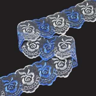 кружево двухцветное белое+св/синее п/э 4,0см оптом