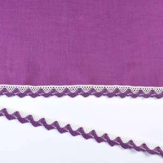 Мереживо бавовна зигзаг 20мм біло-фіолетове оптом