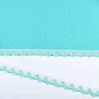 Мереживо бавовна зигзаг 20мм біло-бірюзове оптом