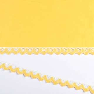 Мереживо бавовна зигзаг 20мм біло-жовте оптом
