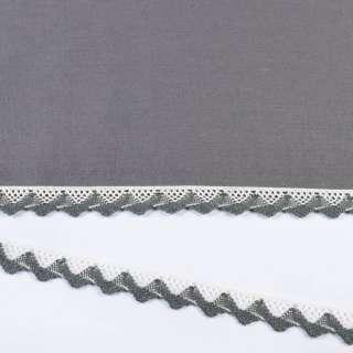 Мереживо бавовна зигзаг 20мм біло-сіре оптом