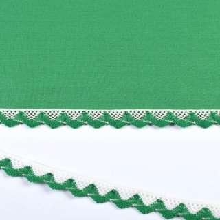 Мереживо бавовна зигзаг 20мм біло-зелене оптом