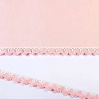 Мереживо бавовна зигзаг 20мм біло-рожеве оптом