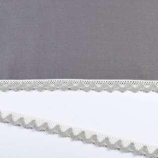 Мереживо бавовна зигзаг 20мм біло-сіре світле оптом