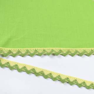 Мереживо бавовна зигзаг 15мм жовто-зелене оптом