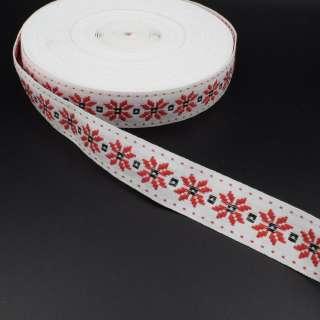Стрічка оздоблювальна біла с орнаментом 30мм червона 08В28Г27 оптом