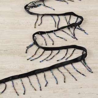 Бахрома бісерна на атласній стрічці чорна, кольоровий стеклярус оптом