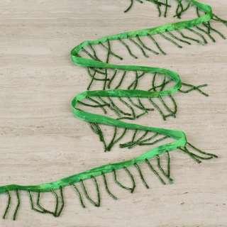 Бахрома бісерна на атласній стрічці зелена, темно-зелений бісер оптом