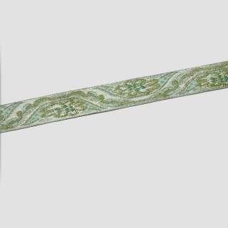 Тесьма отделочная с люрексом 15мм бирюзово-зеленая с золотом оптом