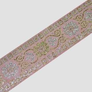 Тесьма отделочна с люрексом 36мм с орнаментом розовая оптом