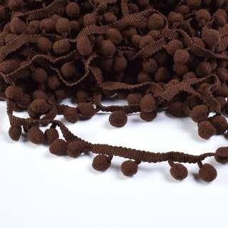Тесьма с помпонами 10мм коричневая оптом