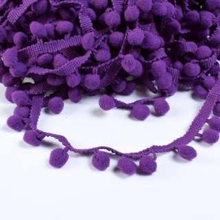 Тесьма с помпонами 10мм фиолетовая оптом