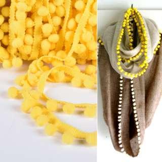 Тесьма с помпонами 10мм желтая оптом