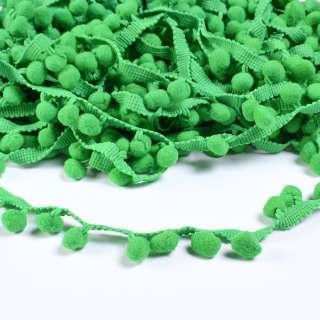 Тесьма с помпонами 10мм зеленая оптом