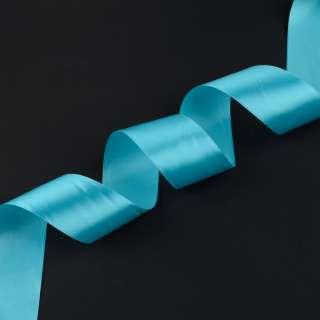 лента атласная 5см голубая оптом