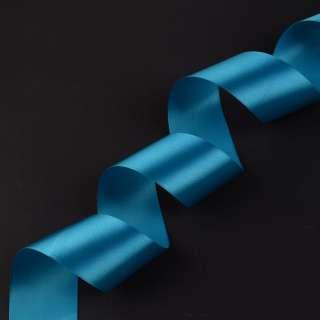 лента атласная 5см голубая темная оптом