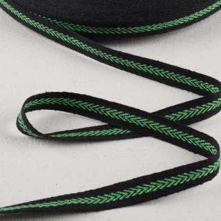 Лента киперная 15мм черная с зеленым узором 14В22Г27 оптом