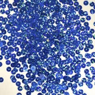 пайетка синяя голограмма 0,5 см, 25 г оптом