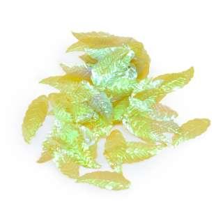 Пайетка хамелеон листик 28х10мм 25 г прзрачная зеленая оптом