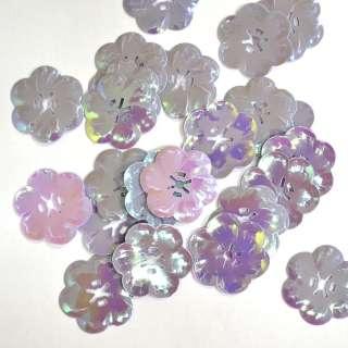 Пайєтка хамелеон квітка 27х27мм 25 г фіолетово-рожева оптом