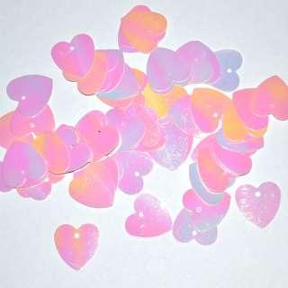 пайетка-сердце розовая хамелеон, 25 г оптом