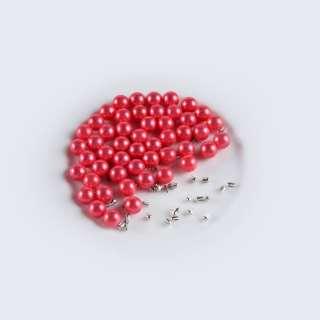 Жемчуг с заклепкой 8мм (50шт/уп) красный оптом