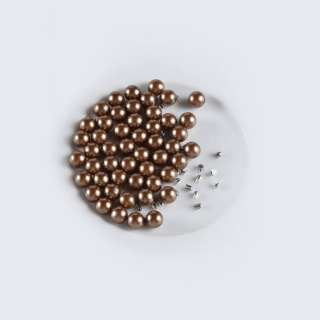 Жемчуг с заклепкой 8мм (50шт/уп) коричневый оптом