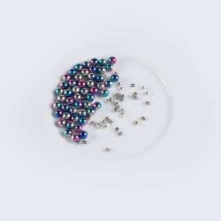 Перли з заклепкою 6мм (50шт/уп) рожево-синій оптом