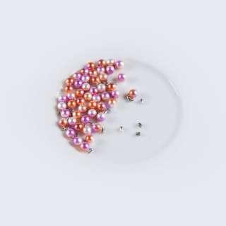 Перли з заклепкою 6мм (50шт/уп) оранжево-біло-рожевий оптом