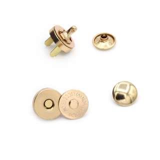 Застібка-кнопка магнітна для сумки золото, 14мм (3 частини) оптом