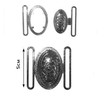 Пряжка металл разъемная 50мм овал 55х55мм никель оптом