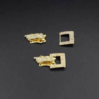 Гачок шубний метал зі стразами 40х20мм золото, срібло оптом
