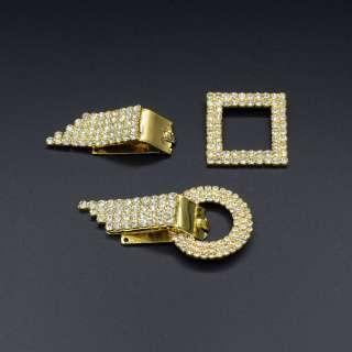 Гачок шубний метал зі стразами 70х40мм золото, срібло оптом
