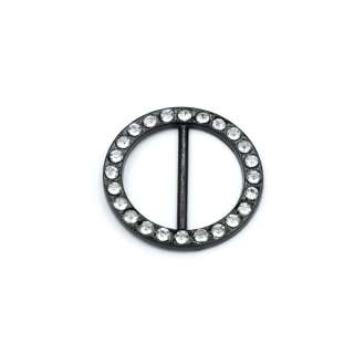 Пряжка неразъемная со стразами металл 25мм круглая 32х32мм черная оптом