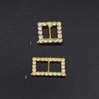 Пряжка неразъемная со стразами металл 10мм 25х15мм и 20х20мм золотистая оптом