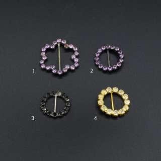 Пряжка неразъемная со стразами металл 15мм черная золотистая фиолетовая оптом