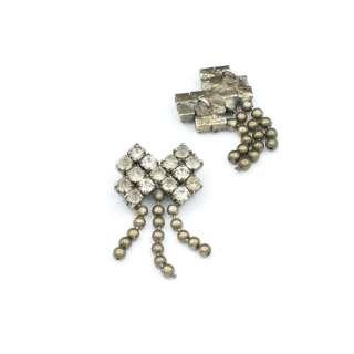 Пришивной декор металл со стразами бантик 17х33мм серебристый оптом