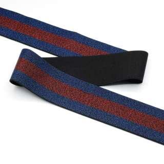 Резинка 40мм синяя с красной полосой с люрексом оптом