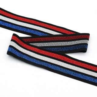 Резинка 40мм черная, синяя, серебристая, красная полоска с люрексом оптом