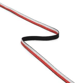 Стрічка еластична 10мм червона/срібляста з люрексом оптом