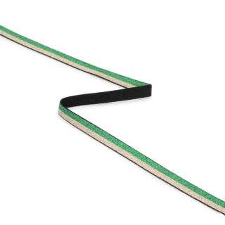 Стрічка еластична 10мм зелена/золотиста з люрексом оптом