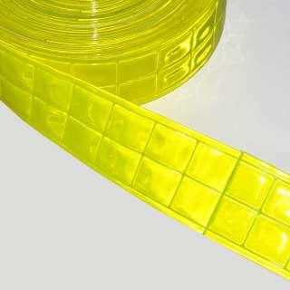 Тесьма светоотражающая 5 см квадраты желтая неон оптом